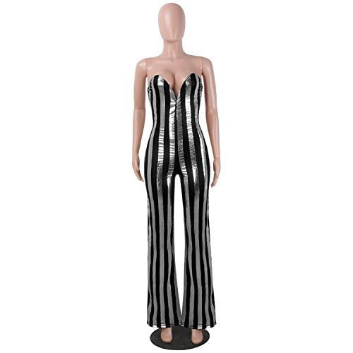 Jumpsuit V Neck Wide Leg Jumpsuit Night Party Club Wear Female Black Silver M by nboba jumpsuits