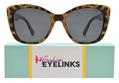 Be One Women Cat Eye Sunglasses in Leopard Frame with Smoke Lens
