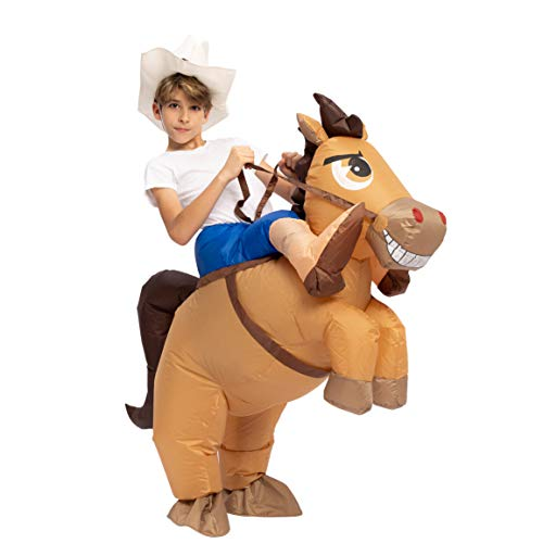 Best Horse And Rider Halloween Costumes (Spooktacular Creations Inflatable Cowboy Riding a Horse Air Blow-up Deluxe Halloween Costume - Child (7-10 Yrs))