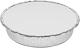 Round 9 Inch Disposable Aluminum Foil Pan Take Out Food Containers with Flat