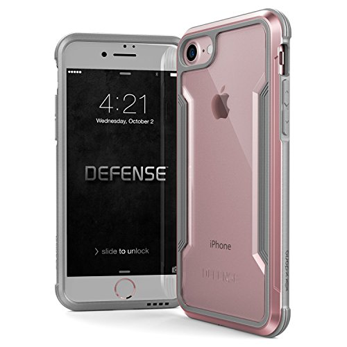 X-Doria iPhone 8 & iPhone 7 Case, Defense Shield Series - Military Grade Drop Tested, Anodized Aluminum, TPU, and Polycarbonate Protective Case for Apple iPhone 8 & 7 (Rose Gold)