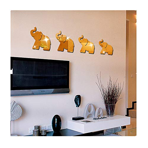 Gold Combo Footwear - Lanhui 4pcs Elephant Mirror Wall Sticker ,DIY Decor Art Home Decal Mural New (2521cm, 2219cm, 18.516cm, 15.516cm, Gold)