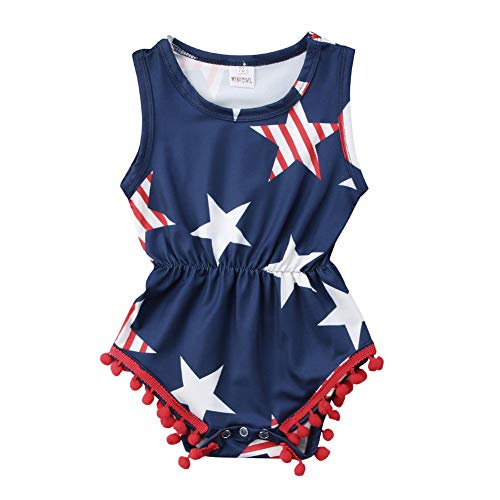 Toddler Baby Boys Girls 4th of July Outfit USA Flag Tassle Romper Bodysuit Jumpsuit Summer Sunsuit Clothes(Forth of July, 0-6 Months)