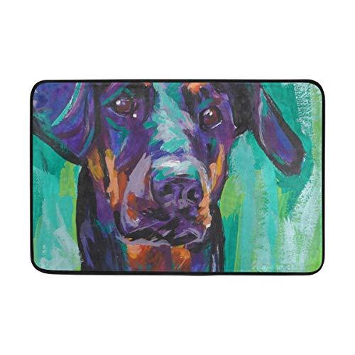 (Doormat Doberman Pinscher Dog Bath Rugs- Non Slip Entrance Rug Welcome Door Mats, HCMusic 23.6x15.7)