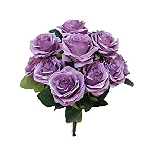 Sweet Home Deco 18'' Princess Diana Rose Silk Artificial Flower Valentine's Day (10 Stems/10 Flower Heads), the Most Beautiful Roses for Wedding/Home Decor (Lavender) 43