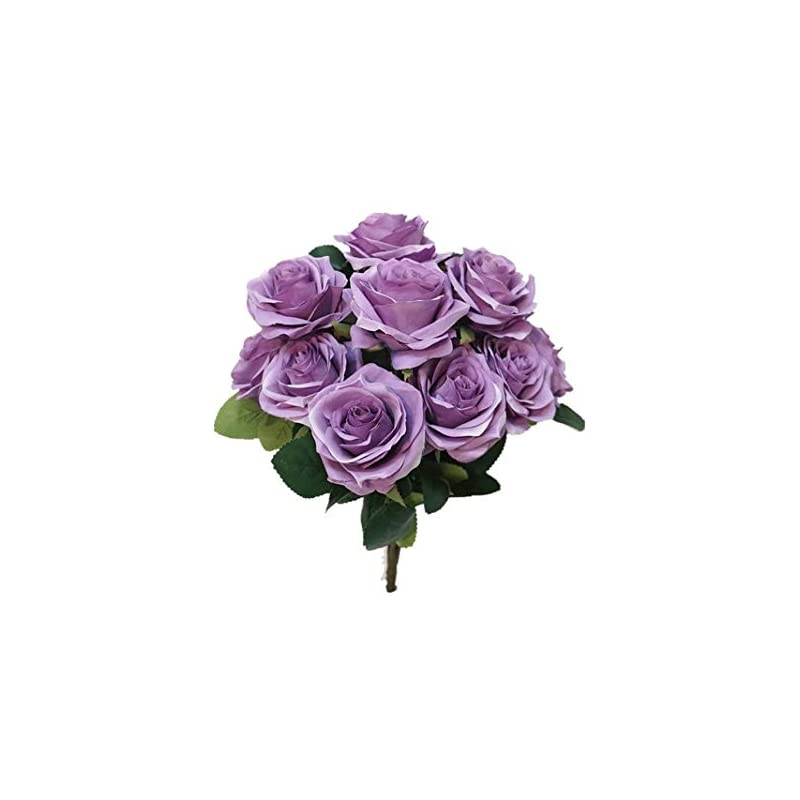 silk flower arrangements sweet home deco 18'' princess diana rose silk artificial flower valentine's day (10 stems/10 flower heads), the most beautiful roses for wedding/home decor (lavender)