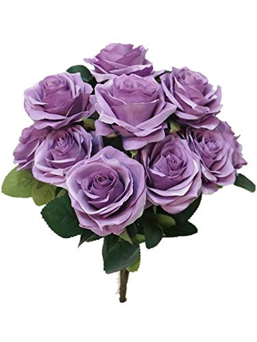 �' Princess Diana Rose Silk Artificial Flower Valentine's Day (10 Stems/10 Flower Heads), the Most Beautiful Roses for Wedding/Home Decor (Lavender) ()