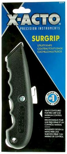 - X-ACTO X3272 SurGrip Utility Knife with Contoured Plastic Handle and Retractable Blade, Black