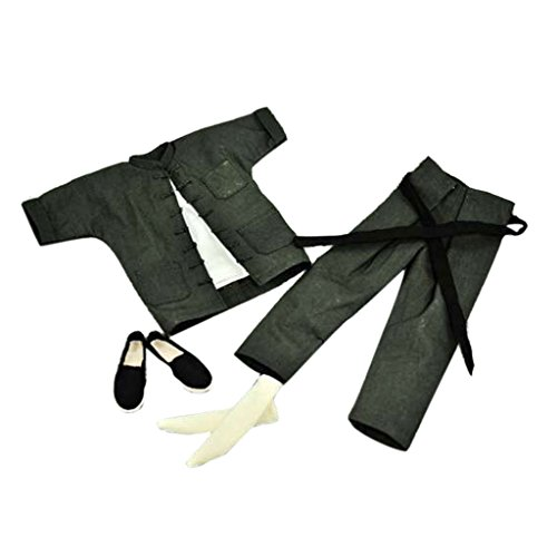 [1/6 Scale Gray Suit Kung Fu Costume Set for 12 inch Enterbay Enter the Dragon Bruce Lee] (Bruce Lee Enter The Dragon Costume)