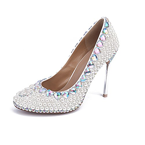 Schuhe Perlen Heels Beaded Lacitena Weiße Bunt Kristall High qCWaTEna