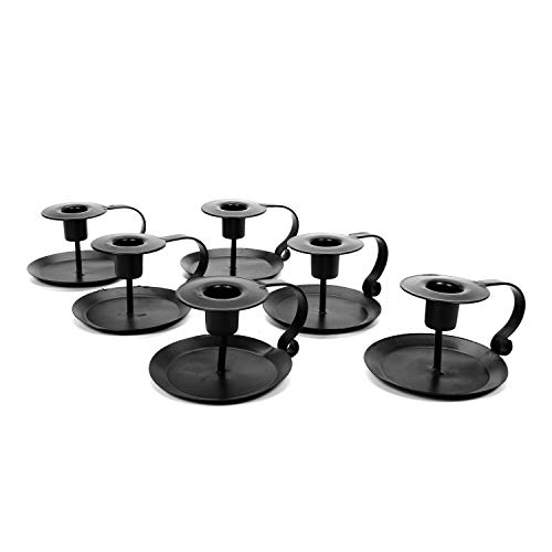 (Hosley Set of 6 Black Taper Holder with Powder Coat 3.8 Inch Long. Ideal for Wedding Party Favor Reki Meditation. O5)