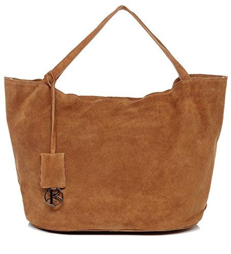 BACCINI borsa a spalla SELMA - sacchetto - Borsa da donna vera pelle (55 x 31 x 23 cm) Marrone Chiaro