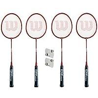 Wilson Raquettes De Badminton Hyper Rouge 4 x + 4 Volants + Housses