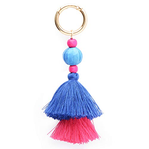 Colorful Boho Pom Pom Tassel Bag Charm Key Chain (M style) ()