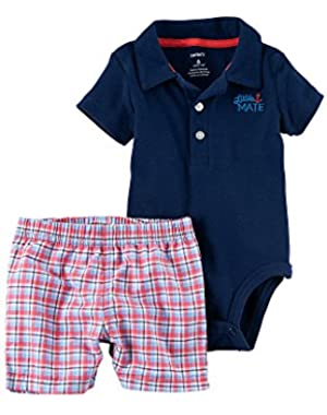 Carter's Baby Boys 2-Piece Polo And Plaid Shorts Set