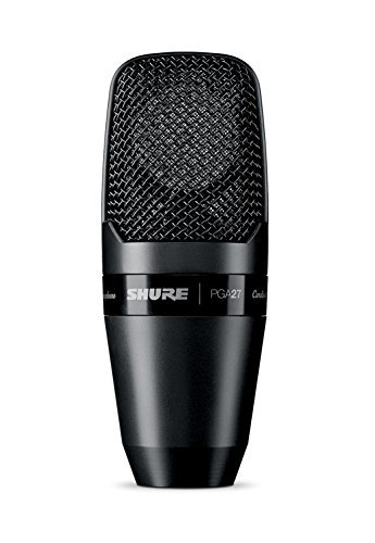 Shure PGA27-LC Large-Diaphragm Side-Address Cardioid Condenser Microphone with Shock-Mount and Carrying Case, No Cable (Dynamic Shure Microphone Cardioid)