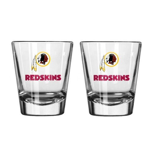 NFL Football Team Logo Satin Etch 2 oz. Shot Glasses | Collectible Shooter Glasses - Set of 2 (Redskins)