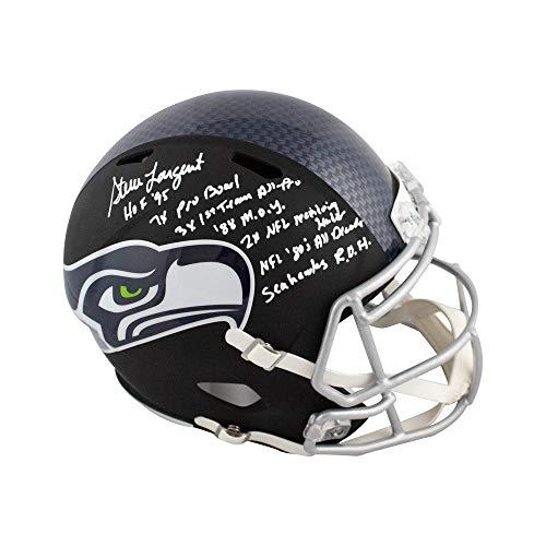 (Steve Largent Autographed Seahawks Flat Black Full-Size Football Helmet JSA 7 Inscrip)