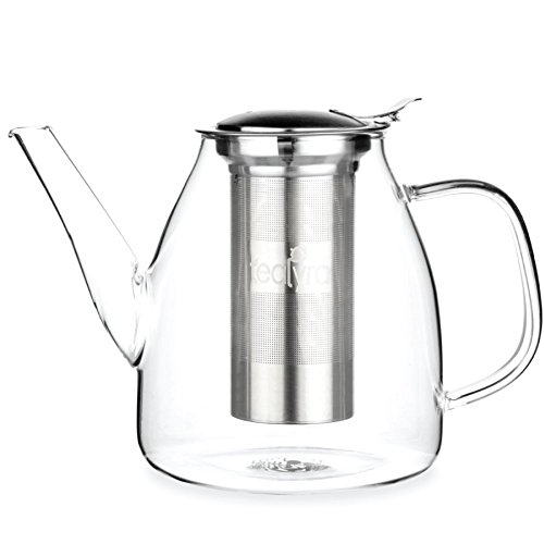 Best Tea Infuser (Tealyra - 37-ounce GALAXY TEAPOT - Stove-Top Safe - Large Borosilicate Glass Teapot - Kettle - w/ Removable Stainless-Steel Infuser - Best For Loose Leaf and Blooming Tea - 1100ml - Makes 4-5 cups)