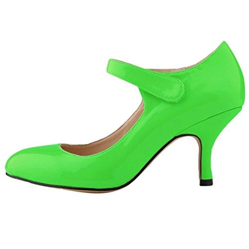 en Danse Heel PU Stiletto Talon WanYang Vert Femme Bas Cuir Escarpin Pointed Toe Soiree Pumps aSazq41
