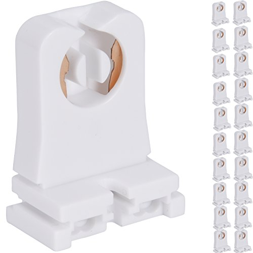 Non-shunted Turn Type T8 Lamp Holder JACKYLED 20-Pack UL Socket Tombstone for LED Fluorescent Tube Replacements Medium Bi-pin Socket for Programmed Start - T Light 1 Single Studio