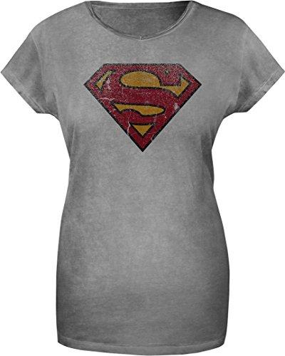 GOZOO-Superman-Camiseta-Mujer-Vintage-Logo-100-Algodn-Impresin-de-alta-calidad-Gris