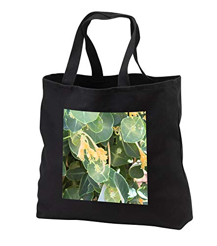 Jos Fauxtographee- Accented edges Leaves Floral - An accented edge done digitally of some green leaves and flower - Tote Bags - Black Tote Bag JUMBO 20w x 15h x 5d (tb_303283_3)