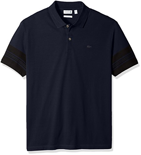 Lacoste Men's Short Subtle Stripe Sleeve Slim Fit Polo, PH2037, Navy Blue/Black, 7 by Lacoste