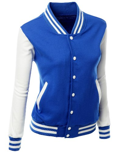 stylish color contrast long sleeves varsity jacket
