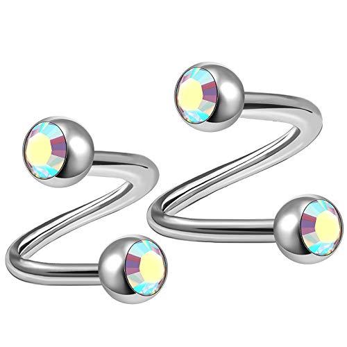 2Pcs Titanium 14g 8mm 10mm Twisted Barbell Piercing Jewelry Tragus Helix Lip Cartilage 4mm Aurora Borealis Crystal Ball M3185