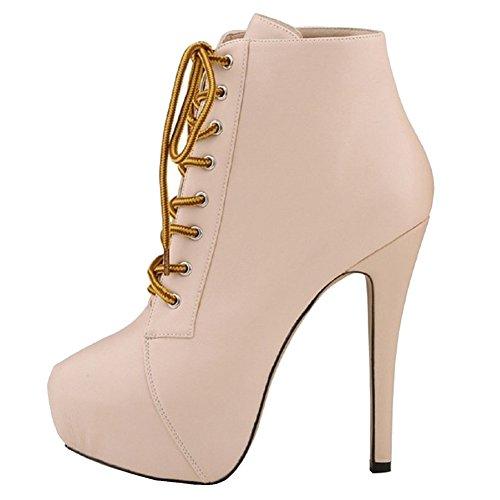 MERUMOTE Women's Daniv High Heels Platform Roude Toe Front Lace Up Plus Size Ankle Short Boots Beige 8 US