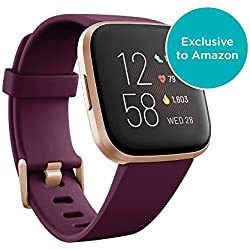 Fitbit Versa 2 Health & Fitness Smartwatch with Heart Rate, Music, Alexa Built-in, Sleep & Swim Tracking, Bordeaux/Copper Rose, One Size (S & L Bands Included)