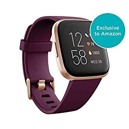 Fitbit Versa 2 Health and Fitness Smartwatch with Heart Rate, Music, Alexa Built-In, Sleep and Swim Tracking, Bordeaux…