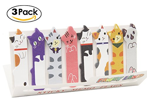 Cute Cat Sticky Notes Bookmarks Page Flags Index Tabs Office Supplies, 3 X 120 Sheets