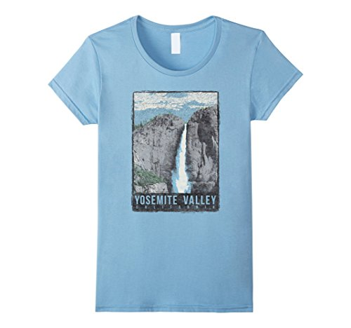 Womens Yosemite Valley California Vintage Poster Graphic T-Shirt Medium Baby - Valley Fashion California