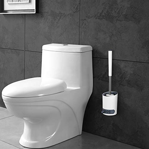 Lemecima 2 Stück Toilettenbürste WC-Bürste und Behälter mit Abnehmbar Wasserspeicherschublade & Schnell Trocknendem Haltersatz Versteckte Pinzette Klebriger Haken für Badezimmer Wandmontage & Stehen