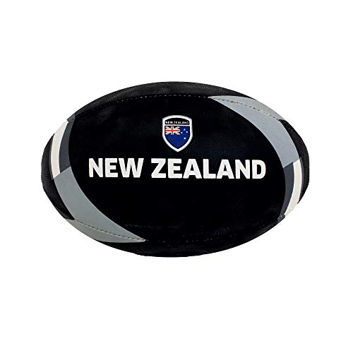 Dribbling by Sportcom Training Rugby Ball, Official Size 5, Hand-Stitched, Standard Adhesive Grip, Country Flags