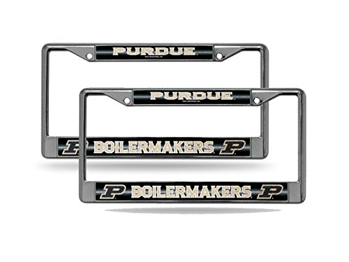 (Rico Purdue Boilermakers NCAA Glitter Bling Chrome (2) License Plate Frame Set)