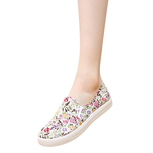 Hee Grand Girls Floral Printed Slip On Casual Loafer Flats Yellow NGFhuEPJqy