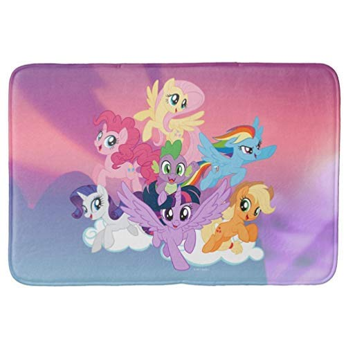Aomsnet Bathroom Decor Mat, Shower Rug Mat Water Absorbent Fast Drying, for Kitchen, Bedroom, Hotel, Spa Tub 30x18 Inches with Non Slip Backing Bath Mat My Little Pony Mane Six On Clouds (Rugs Pony Little My Bathroom)