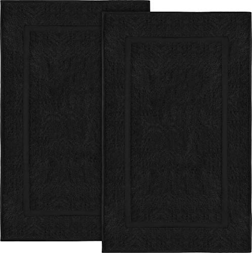 Utopia Towels Cotton Banded Bath Mats, 2 Pack (21 x 34 Inches), Black (Black Mat)