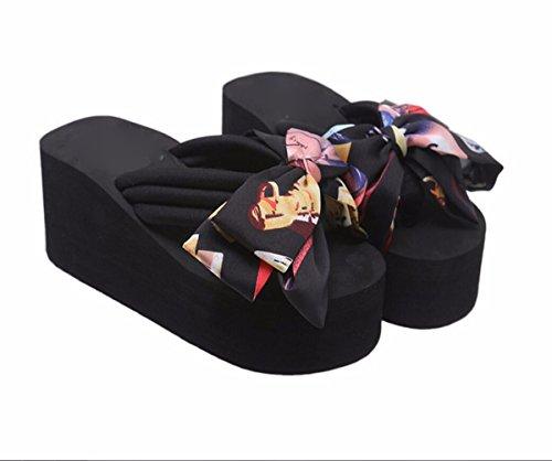 GTVERNH Zapatos de Mujer/Zapatillas Mujeres Verano Moda Desgaste Salvaje Al Aire Libre Personalidad Talon Plano Estudiantes Zapatillas Arco Fondo Grueso. black
