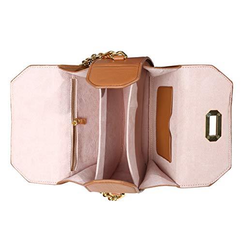 à chaîne Femmes Petit Petits Design Sacs Brun de Sac Dames Rose à 8x3x6inch 20x8x15cm Main Sacs bandoulière Sac Sac bandoulière à Main wx6BqWTY7