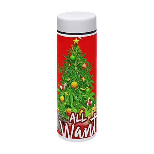 HangWang Thermos Festive Christmas Tree Insulated Stainless Steel Water Bottle Double Wall Travel Coffee Mug Personalized DIY 7 oz/220ml