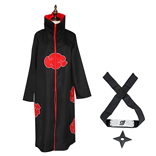 Uchiha Halloween Costume Madara (COSFAN Cosplay Akatsuki Uchiha Madara Sasuke Itachi Unisex Halloween Costume Uniform Ninja Robe Cloak with Shinobi Headband Throwing)