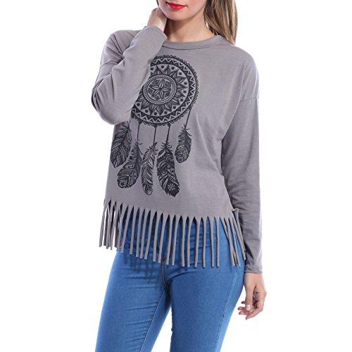 La Modeuse-Camiseta para mujer manga larga GRIS FONCE