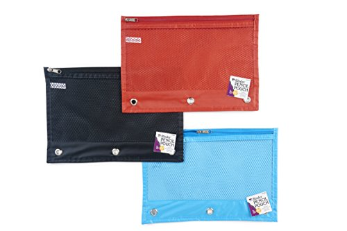 Charles Leonard Pencil Pouch for Binder, 1 Pocket with Zipper and Mesh Front, Assorted Colors, 24-Pack (76330-ST)