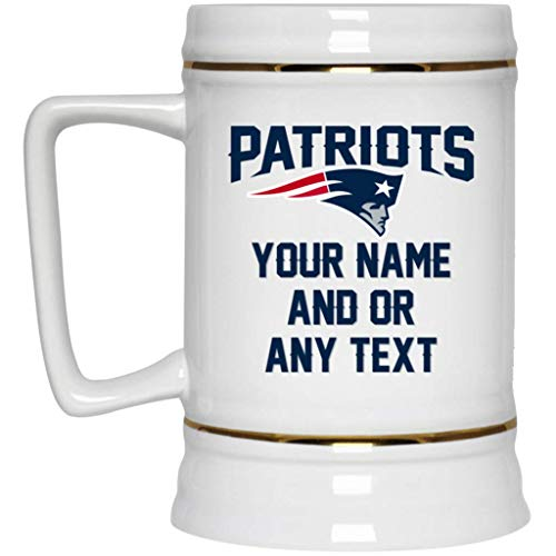 Custom Personalized New England Patriots Beer Mug Patriots Logo Beer Stein 22 oz White Ceramic Beer Cup NFL AFC Football Perfect Gift for any Patriots - Company Glass England New