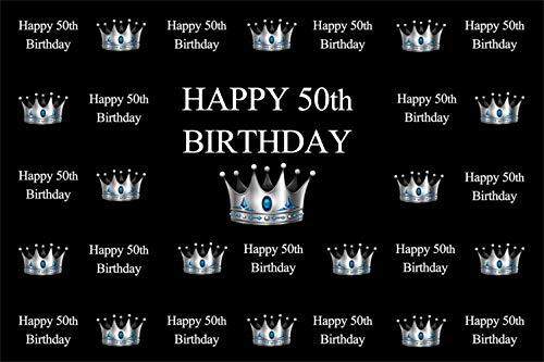 Laeacco 8x6.5ft Happy 50th Birthday Backdrop Vinyl White Characters Silver Crown Design Photography Background Adult Birthday Party Banner Charming 50 Years Celebration Party Photoshoot Backdrops