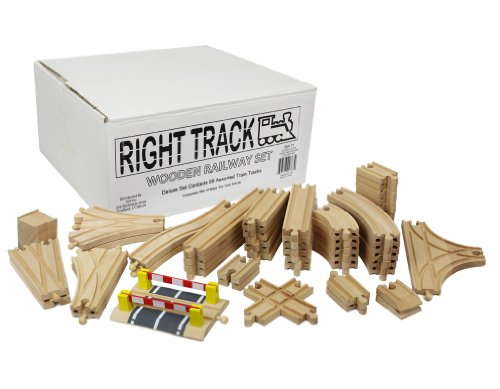 (Right Track Toys Wooden Train Track Deluxe Set: 56 Premium Wood Pieces 100% Compatible with Thomas - All Tracks and No Fillers)